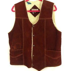 Vintage Suede Leather Fleece Lined Western Vest M
